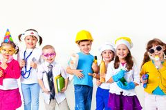 Kids playing in professions stock photos