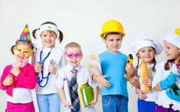 Kids playing in professions Stock Image