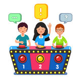 Kids playing quiz game answering questions. Standing at the stand with buttons. Girl pressed the buzzer first and raised hand up. Colorful flat style cartoon Stock Photography