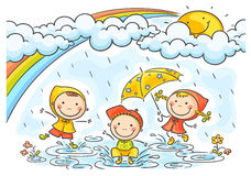 Kids playing in the rain. Happy kids playing in the rain stock illustration