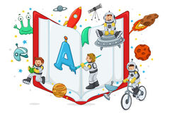 Kids Playing and Reading Royalty Free Stock Photos