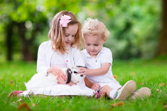 Kids playing with real rabbit stock photos