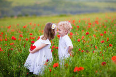 Kids playing in red poppy flower field Royalty Free Stock Photos