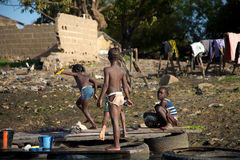 Kids playing. In the river The Niger, Bamako Stock Photos
