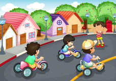 Kids playing on the road. Illustration of a kids playing on the road Royalty Free Stock Photo