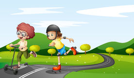Cartoon Of A Kid With A Skateboard Stock Images Image