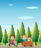 Kids playing at the road with pine trees Royalty Free Stock Photo