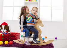 Kids playing in the room Stock Images
