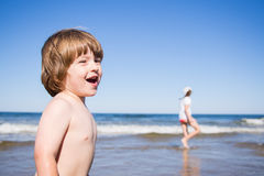 Kids playing in the sea Royalty Free Stock Image