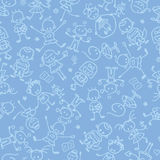 Kids playing seamless pattern background Royalty Free Stock Photography