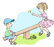 Kids playing at the see-saw Royalty Free Stock Images