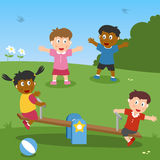 Kids Playing with Seesaw royalty free illustration