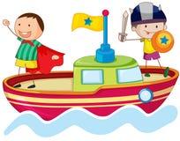 Kids playing on ship Royalty Free Stock Image