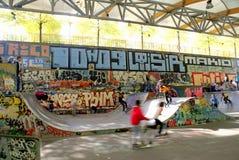 Kids playing in skatepark, Paris, France Stock Photos