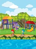 Kids playing slide and riding bike in park. Illustration Stock Images