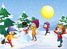 Kids playing in the snow on christmas. Illustration Stock Photography