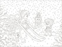 Children on a toy slide in a winter park. Kids playing on a snow-covered playground, black and white vector illustration in a cartoon style for a coloring book stock illustration