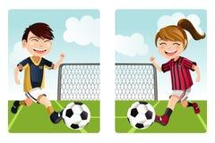 Kids playing soccer vector illustration