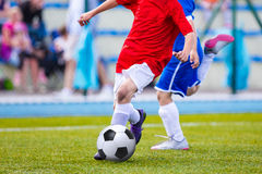 Kids Playing Soccer Football Match. Sport Soccer Tournament for. Youth Teams Stock Photography