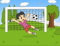 Kids playing soccer in the park cartoon stock illustration