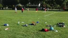 Kids playing soccer stock video footage