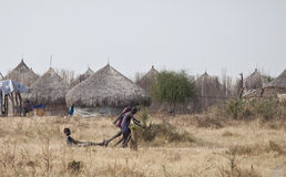 Kids playing in South Sudan stock images