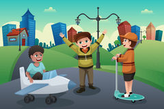 Kids playing in the street of a suburban neighborhood Royalty Free Stock Photo
