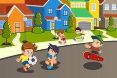 Kids playing in the street of a suburban neighborhood stock illustration