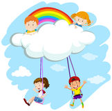 Kids playing swing on clouds Stock Image
