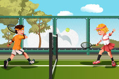 Kids playing tennis. A vector illustration of two kids playing tennis Stock Photo