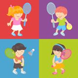 Kids playing tennis Stock Photography