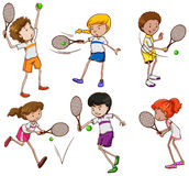 Kids playing tennis Royalty Free Stock Images