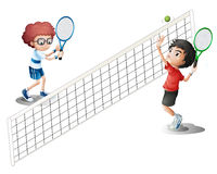 Kids playing tennis. Illustration of kids playing tennis Stock Photography