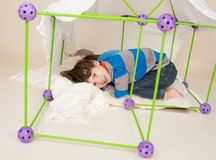 Kids Playing with Tent, Pretend Fort Stock Images