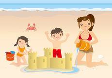 Family fun in beach Royalty Free Stock Image
