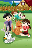 Kids playing with their pets. A vector illustration of kid playing with their pets in the garden Royalty Free Stock Photography