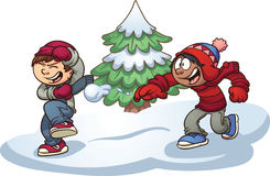 Kids playing. Kids throwing snowballs. Vector clip art illustration with simple gradients. Some elements are on separate layers for easy editing Stock Images