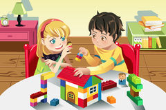 Kids playing with toys. A vector illustration of kids playing with their toys Stock Image