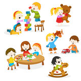Kids Playing With Toys. Collection of cute little kids playing with toys Royalty Free Stock Photos