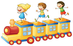 Kids playing on train Royalty Free Stock Photos