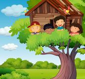 Kids playing at treehouse in park. Illustration Stock Image