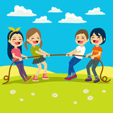 Kids Playing Tug. Illustration of Little Kids playing Tug of War outdoors Royalty Free Stock Photos