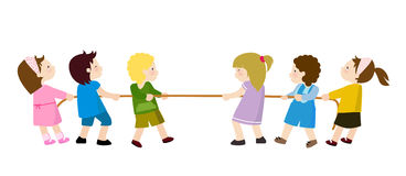 Kids Playing - Tug of War Royalty Free Stock Image