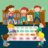 Kids playing twister in room. Illustration Stock Image
