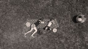 Kids playing, view from above, brother and sister stock image