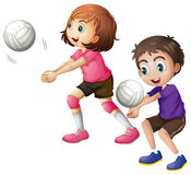 Kids playing volleyball Royalty Free Stock Photography