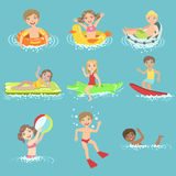 Kids Playing In the Water Set Royalty Free Stock Image