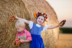 Kids playing in wheat field in Germany Royalty Free Stock Images