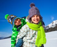 Kids playing winter. Stock Image