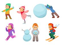Kids playing in winter games. Different childrens in action poses Stock Image